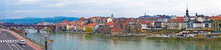 riverfront: Town of Maribor riverfront panoramic view, Slovenia
