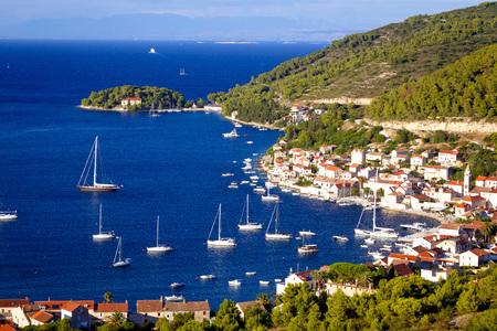 yachting: Island of Vis yachting bay aerial view, Dalmatia, Croatia Stock Photo