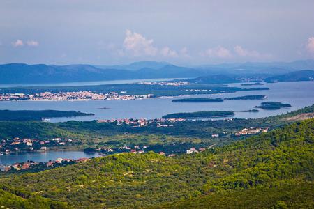archipelago: Croatian islands archipelago aerial view, bay of Pasman island