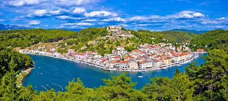 dalmatia: Novigrad Dalmatinski bay panoramic view, Dalmatia, Croatia Stock Photo