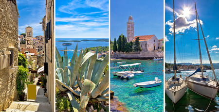 dalmatia: Island of Hvar tourist collage, Dalmatia, Croatia Stock Photo