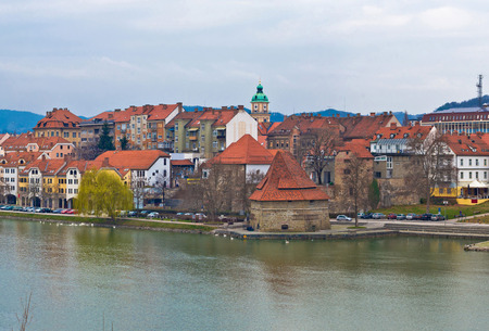 drava: City of Maribor on Drava coast, Slovenia