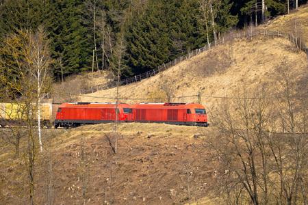 steiermark: Austrian railways OBB train in nature, Carinthia, Austria Stock Photo