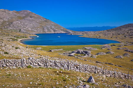 krk: Sailing bay Mala Luka stone desert, Island of Krk, Croatia