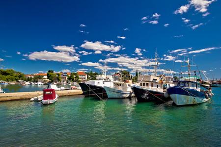 fishing fleet: Fishing boats fleet in Zadar harbor, Dalmatia, Croatia Stock Photo