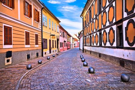 Old street of baroque town of Varazdin, northern Croatia