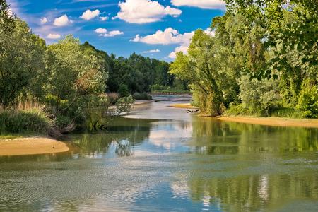 drava: Mouth of Drava and Mura rivers in Podravina region of Croatia Stock Photo