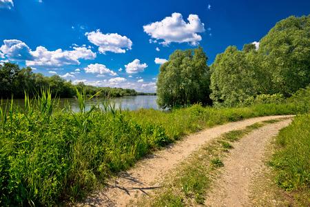 drava: River Drava landscape and path on croatian hungarian border, Podravina region of Croatia