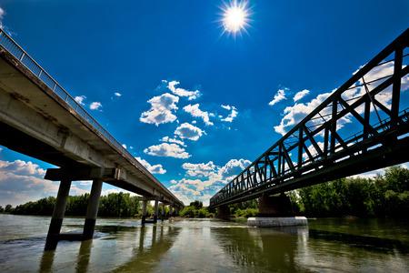 drava: Two bridges on Drava river in Podravina region of Croatia Stock Photo