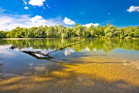 drava: Landscape of Drava river on Mura mouth, Podravina region of Croatia