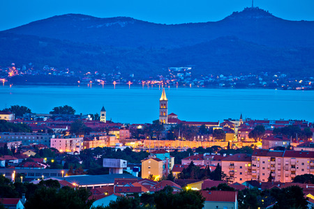City of Zadar evening skyline and Ugljan island, Dalmatia, Croatia