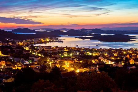 betina: Adriatic archipelago at sunset from Murter island view, Dalmatia, Croatia