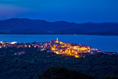 betina: Mediterranean town of Betina evening skyline, old architecture of Adriatic, Dalmatia, Croatia Stock Photo
