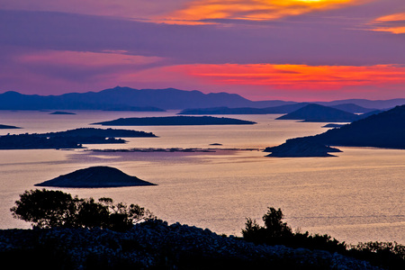 kornati: Adriatic archipelago aerial view at sunset, islands of Croatia near Kornati national park