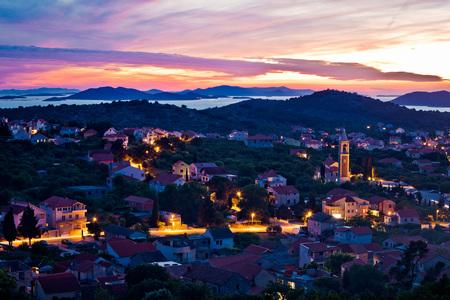 betina: Town of Murter sunset view, Dalmatia, Croatia Stock Photo