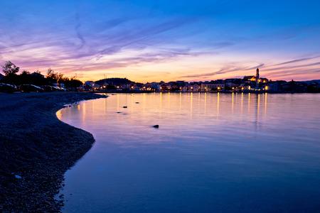 betina: Town of Betina beach at sunset, island of Murter, Dalmatia, Croatia