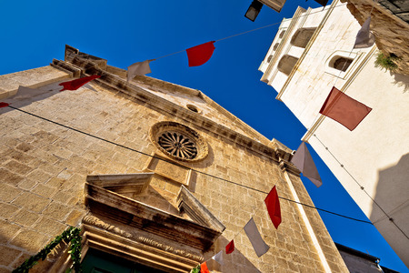 dalmatia: Town of Vodice historic stone church, Dalmatia, Croatia