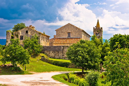 Town of Hum old stone architecture view, Istria, Croatia