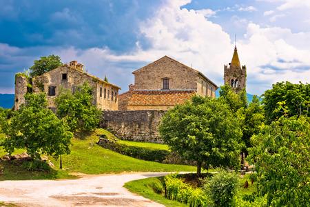hum: Town of Hum old stone architecture view, Istria, Croatia