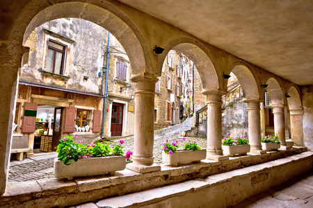Groznjan town lodge and old architecture, Istria, Croatia