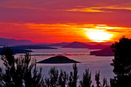 kornati: Kornati national park archipelago sunset view, Dalmatia, Croatia Stock Photo