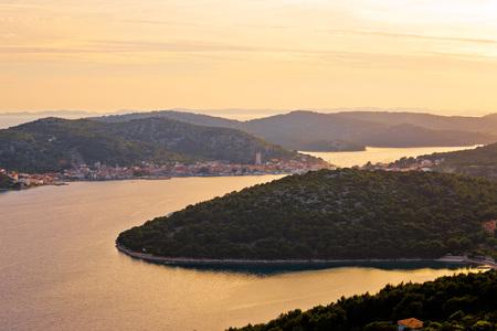 betina: Murter island archipelago sunset view, Dalmatia, Croatia