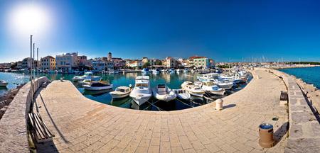 seafront: Town of Vodice waterfront panorama, Dalmatia, Croatia Stock Photo
