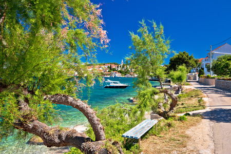 Kali village on Ugljan island turquoise beach view, Dalmatia, Croatia