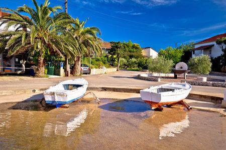 Ugljan coastal island village waterfront view, Dalmatia, Croatia Stock Photo
