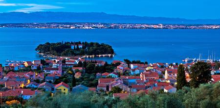 Island of Ugljan evening aerial panorama, Dalmatia, Croatia