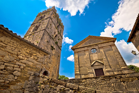 hum: Town of Hum old stone landmark, Istria, Croatia