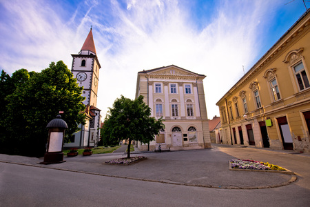 Town of Varazdin church and square, northern Croatia