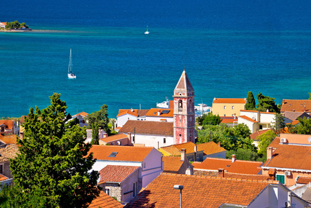 Island town of Preko coast view, Ugljan, Croatia Stock Photo