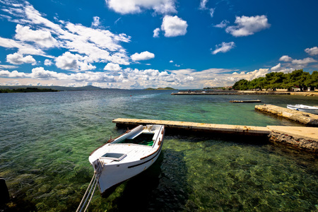 dalmatia: Biograd na moru beach and waterfront view, Dalmatia, Croatia Stock Photo