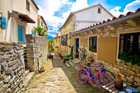 Town of Hum stone steet view, Istria, Croatia Stock Photo
