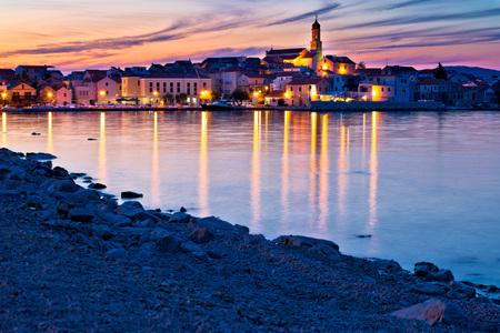 betina: Betina town and beach sunset view, Island of Murter, Croatia