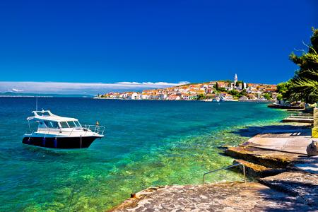 kali: Kali beach and boat on turquoise sea, Island of Ugljan, Croatia