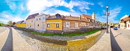 croatian: Town of Samobor riverfront panoramic view, northern Croatia Stock Photo
