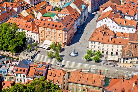 Novi square and fountain in Ljubljana aerial view, capital of Slovenia