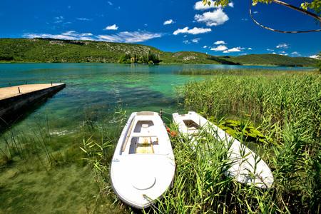 Visovac lake in Krka river national park, Dalmatia, Croatia