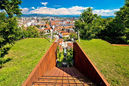 Funicular of Ljubljana and city aerial view, capital of Slovenia