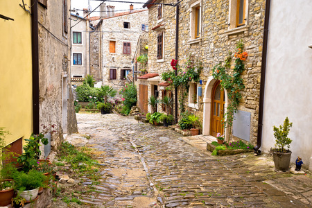 Town of Buje cobbled old steet, Istria, Croatia