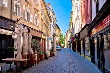cobbled: Old Ljubljana cobbled street view, capital of Slovenia