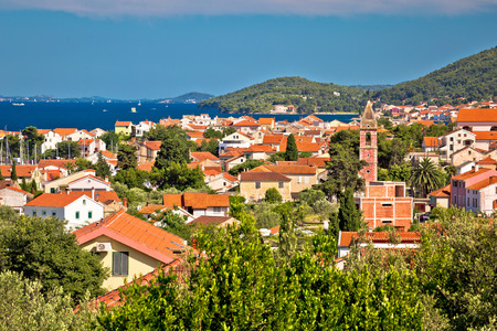 Village of Preko on Ugljan island, Zadar archipelago in Dalmatia, Croatia Stock Photo