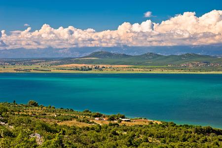 kornat: Vransko lake and landscape aerial view, Dalmatia, Croatia Stock Photo