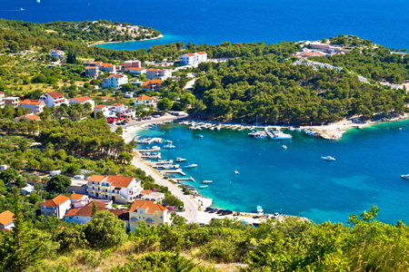 kornat: Aerial view of adriatic coast and Drage Pakostanske, Dalmatia, Croatia