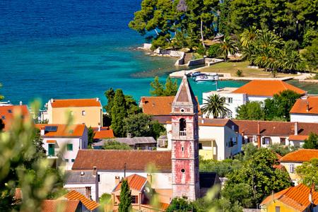 Town of Preko on Ugljan island architecture and beach view, Dalmatia, Croatia