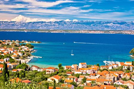 Island of Ugljan beach and coast aerial view, Dalmatia, Croatia