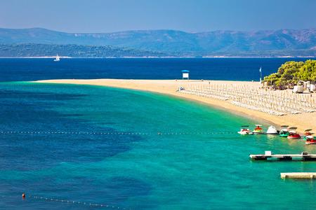 Zlatni Rat famous turquoise beach in Bol on Brac island view, Dalmatia, Croatia