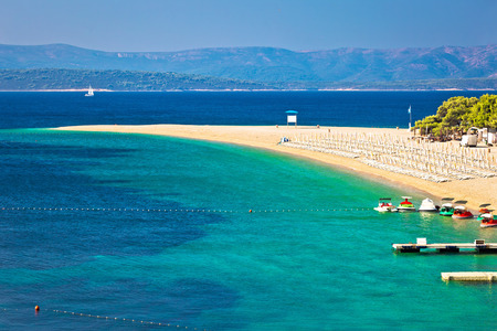 Zlatni Rat famous turquoise beach in Bol on Brac island view, Dalmatia, Croatia